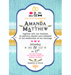 Invitation to the wedding in the style of rustic vector