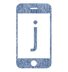 J phone fabric textured icon vector