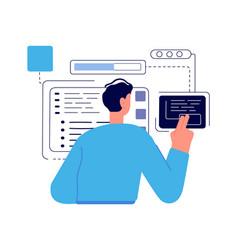 Java technology coder programmer boy man geek vector