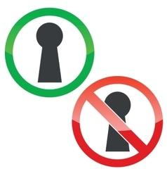 Keyhole permission signs set vector image