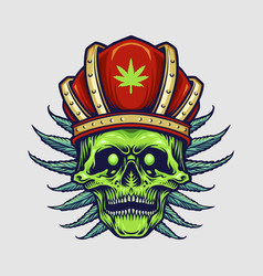 king red crown skull weed leaves vector image