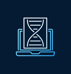 laptop with dna colorful linear icon or vector image