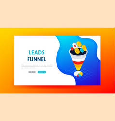 Leads funnel landing page vector