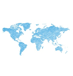 Light blue grungy map of the world - continents vector