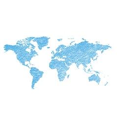 Light blue grungy map world - continents vector