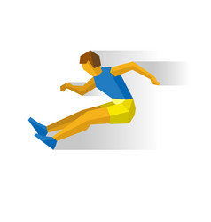 long jumping athlete isolated on white background vector image