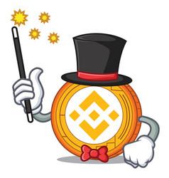 Magician binance coin mascot catoon vector