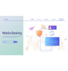 mobile banking modern flat design concept for vector image