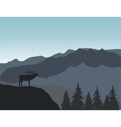 Mountains deer vector