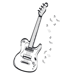 Musical instrument Bas-guitar on white background vector