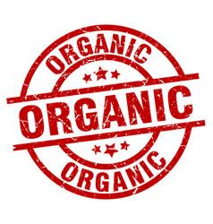 Organic round red grunge stamp vector