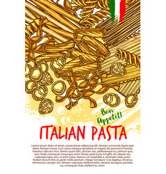 Pasta and italian macaroni poster vector