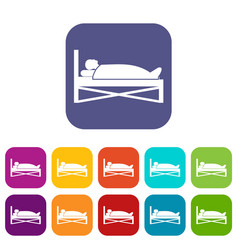 patient in bed in hospital icons set vector image
