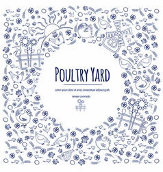 Pattern poultry yard-01 vector