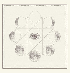 Phases moon with all-seeing eye and sacred vector