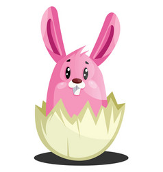 pink easter bunny in cracked eggshell web on a vector image