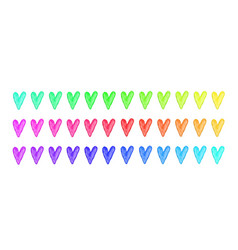 rainbow watercolor hearts isolated vector image