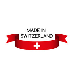 Ribbon with the swiss colors made inswitzerland vector