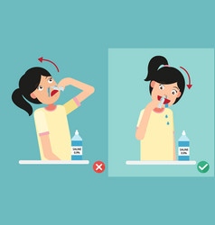 right and wrong ways of cleaning your nostrils vector image