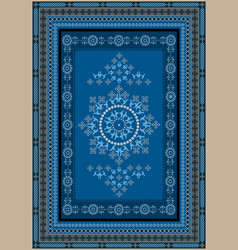 Rug with oriental design in blue gray shades vector