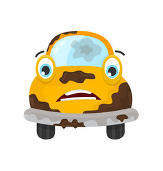 sad dirty car flat modern style vector image