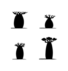 Set of four hand drawing black baobabs vector