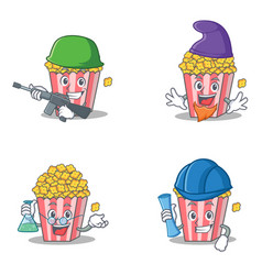 set of popcorn character with army elf professor vector image