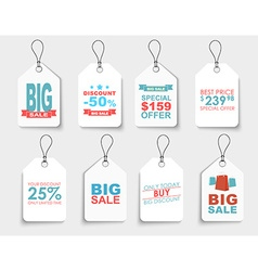 Set of white price tags of different shapes vector