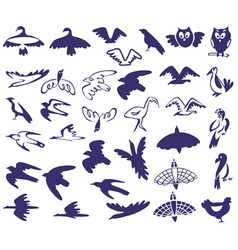 Set stylized birds vector