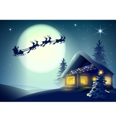 Silhouette Santa Claus and reindeer flying over vector image