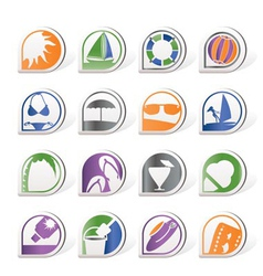 simple summer and holiday icons vector image