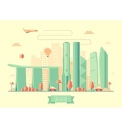 Singapore skyline architecture flat vector