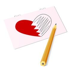 sketch of heart vector image vector image