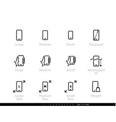 smart phone tech icons editable line set vector image