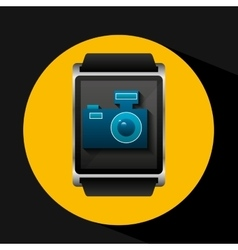 Smart watch concept camera social media vector
