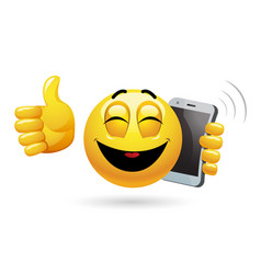 smiley talking on a phone of a smiley having vector image