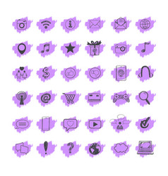 social media icons set 26 vector image