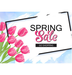 Spring sale banner with pink tulips and frame vector