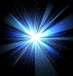 Star with rays white blue in space isolated and vector