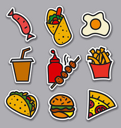 street food stickers vector image