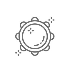 tambourine timbrel tabour line icon vector image