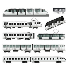 Trams and trains set vector