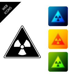 triangle sign with radiation symbol icon isolated vector image