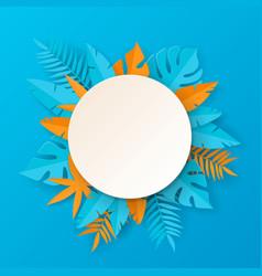 tropical summer banner - paper art vector image
