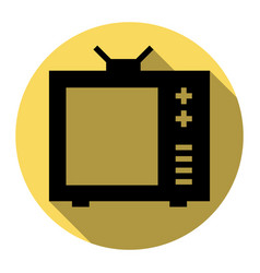 tv sign flat black icon with vector image