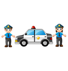 two police officers with police car vector image