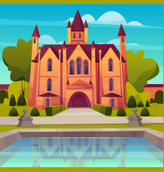 victorian mansion with fountain cartoon vector image