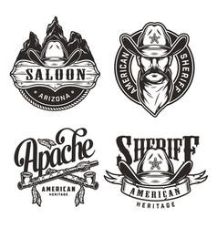 vintage wild west labels set vector image
