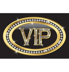 Vip gold label with diamonds vector