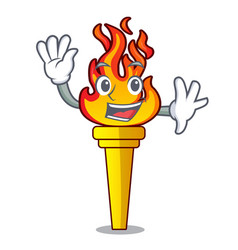 waving torch character cartoon style vector image